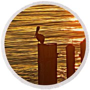 Late For Dinner Round Beach Towel