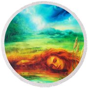 Awakening Blue Round Beach Towel