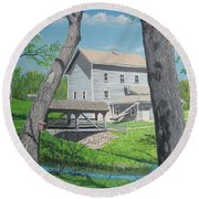 Award-winning Painting Of Beckman's Mill Round Beach Towel by Norm Starks