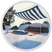Awning At The Vacation Home Of Gaston Berthelot Round Beach Towel