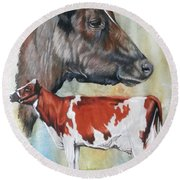 Ayrshire Cattle Round Beach Towel