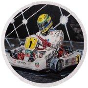 Ayrton Senna Karting Round Beach Towel