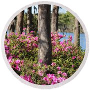 Azalea At The Lake Round Beach Towel