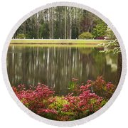 Azaleas And Reflection Pond Round Beach Towel