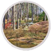 Azaleas By The Pond's Edge Round Beach Towel