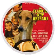 Azawakh Art - The Flame Of New Orleans Movie Poster Round Beach Towel
