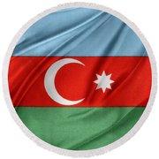 Azerbaijan Flag Round Beach Towel by Les Cunliffe