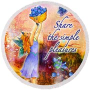 Azuria - Share The Simple Pleasures Round Beach Towel