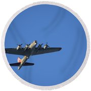 B-17 Over La Jolla Cove Round Beach Towel