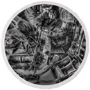 B-24 Bomber Belly Gunner - 1943 Round Beach Towel