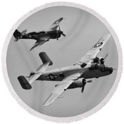 B-25 And Escort Bw Round Beach Towel
