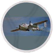 B-25 Take-off Time 3748 Round Beach Towel