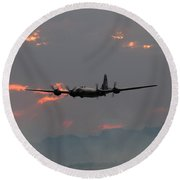 B-29 Bomber Aircraft In Sunset Flight Round Beach Towel
