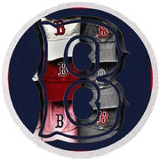B For Bosox - Boston Red Sox Round Beach Towel by Joann Vitali