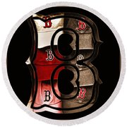 B For Bosox - Vintage Boston Poster Round Beach Towel