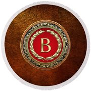 B - Gold Vintage Monogram On Brown Leather Round Beach Towel