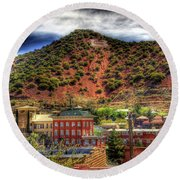 B Hill Over Historic Bisbee Round Beach Towel