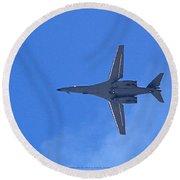 B1-b Lancer In The Skys Over Las Vegas Round Beach Towel