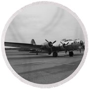 B17 Bomber Parked Round Beach Towel