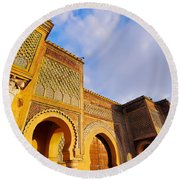 Bab Mansour In Meknes In Morocco Round Beach Towel