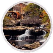 Babcock Grist Mill And Falls Round Beach Towel
