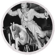 Babe Didrikson On Sidesaddle Round Beach Towel
