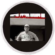 Babe Ruth As Member Of The Boston Red Sox National Photo Company Collection 1919-2013 Round Beach Towel