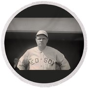 Babe Ruth With The Sox Round Beach Towel