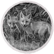 Babes In The Woods 2 - Paint Bw Round Beach Towel