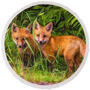 Babes In The Woods 2 - Paint Round Beach Towel