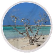Baby Beach With Driftwood Round Beach Towel