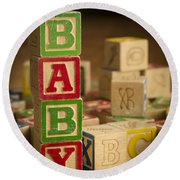 Baby Blocks Round Beach Towel