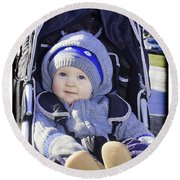 Baby Blue Round Beach Towel