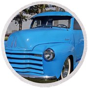 Baby Blue Chevy From 1950 Round Beach Towel