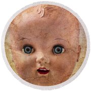 Baby Doll Face Round Beach Towel