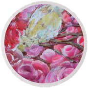 Baby Dove Of Peace Pink Flowers Round Beach Towel