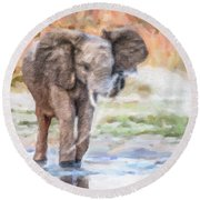 Baby Elephant Spraying Water Round Beach Towel