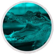 Baby Gator Turquoise Round Beach Towel