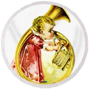 Baby Girl With A French Horn Round Beach Towel