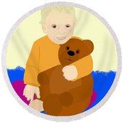Baby Holding Teddy Bear Round Beach Towel