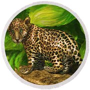 Baby Jaguar Round Beach Towel