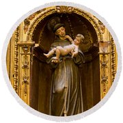 Baby Jesus And A Monk Sculpture Round Beach Towel