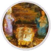 Baby Jesus Silent Night Photo Art Round Beach Towel