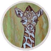 Baby Longneck Giraffe Round Beach Towel