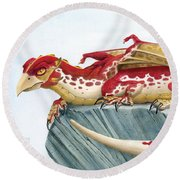 Baby Scarlet Spotted Dragon Round Beach Towel