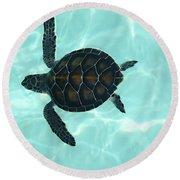 Baby Sea Turtle Round Beach Towel by Ellen Henneke
