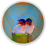 Baby Swallows Round Beach Towel by Sue Jacobi