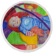 Baby Ted In Motion Portrait  Round Beach Towel
