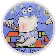 Baby Tooth Round Beach Towel by Anthony Falbo