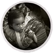Baby With A Banana Round Beach Towel